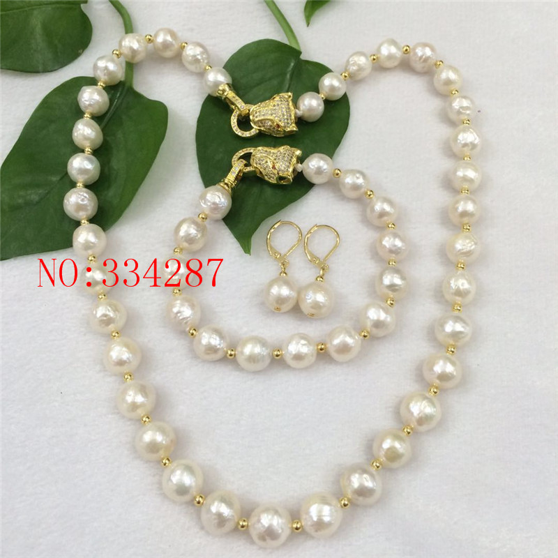 NEW HUGE NATURAL 10-11MM australia seas of the south white pearl necklace Earrings bracelet set leopard claspNEW HUGE NATURAL 10-11MM australia seas of the south white pearl necklace Earrings bracelet set leopard clasp