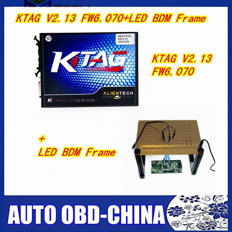 Цена за Полный набор KTAG K-TAG V2.13 FW 6.070 мастер ЭКЮ чип инструмент настройки + новый LED BDM Рамка ЭБУ инструментов программирования Полный комплект бесплатная доставка