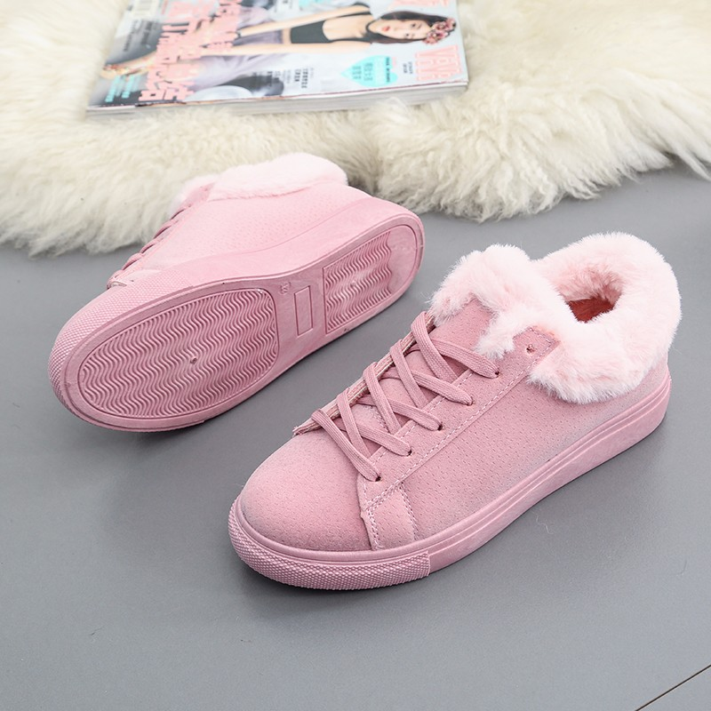 Women Flats For Winter Plush Warm Shoes Casual Flat Heels Lace Up Ladies Shoes Size 35-40 Black Gay Pink Fashion Fur Shoes NX5 (23)