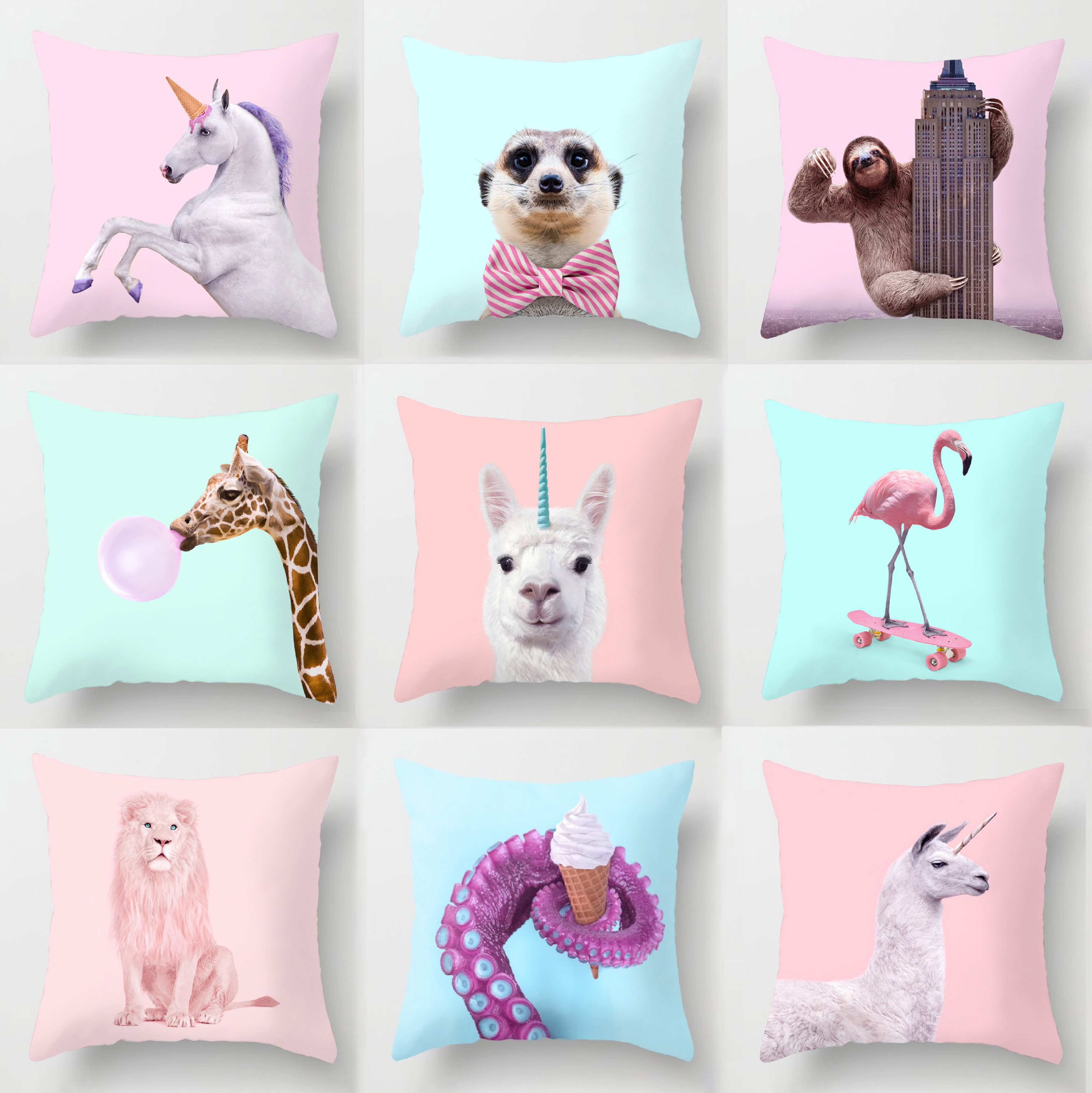 Cartoon Animal Printed Throw Pillows Cushion Cover Decorative Dog Flamingo Unicorn Giraffe Elephant Home Decoration Accessories