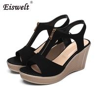 EISWELT Summer Women Sandals Female Casual Shoes Ladies Shoes Spring Wedges Solid Sandlas Peep Toe Ladies