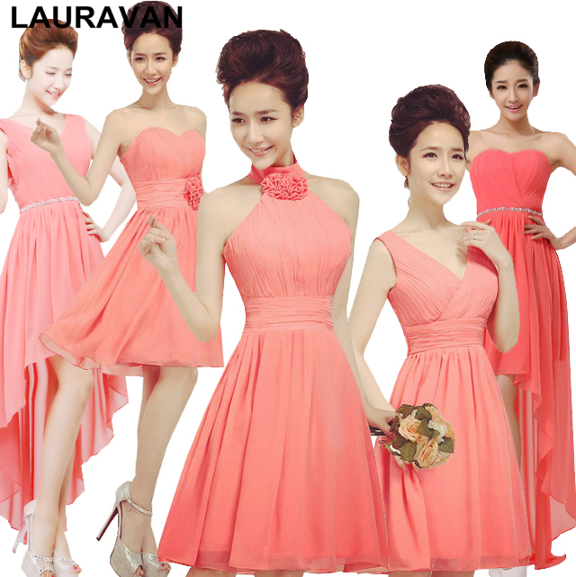 short watermelon coral ladies   bridesmaid     dresses   bridemaid knee length woman formal   dress   party for weddings free shipping