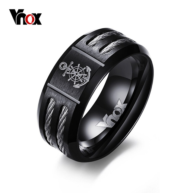 Vnox Men's Rudder Ring Cool Black Stainless Steel Wia Rings for Men Jewelry free