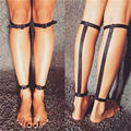 2pc Punk Goth Rivets Handmade Leg Calf Harness Ankle Belt Leather Body Bondage Straps