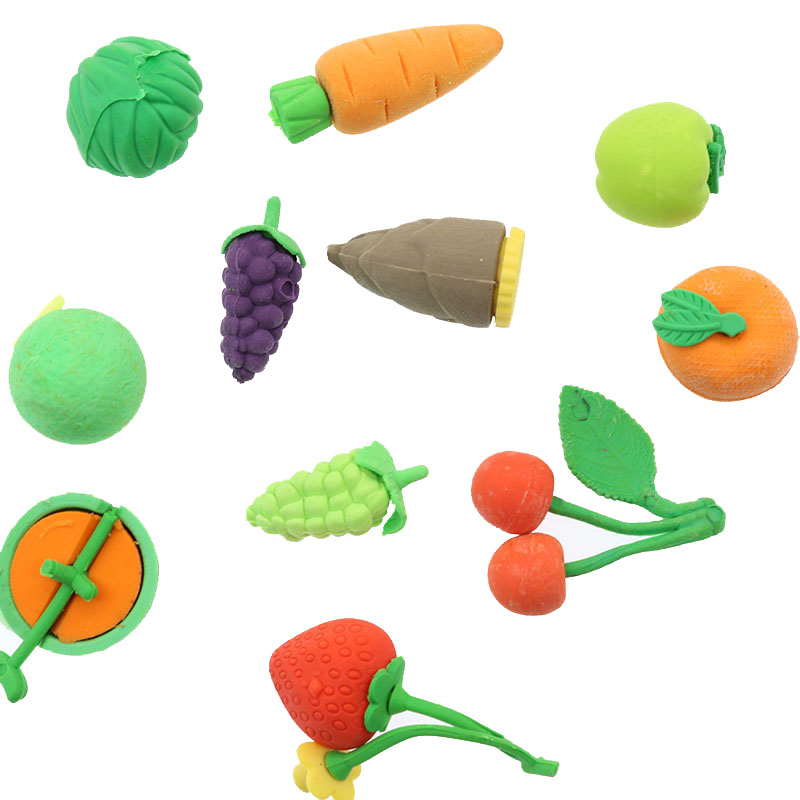3pc/Cute New Fruit Vegetable Styling Eraser Stationery School Supplies Papyrus Gift Children'S Toys About 3-5cm