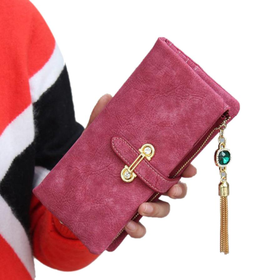 Dollar Price Fashion Women Wallets Drawstring Purse Leather Zipper Retro Tassel Clutch Handbag Carteras Mujer Portefeuille Femme