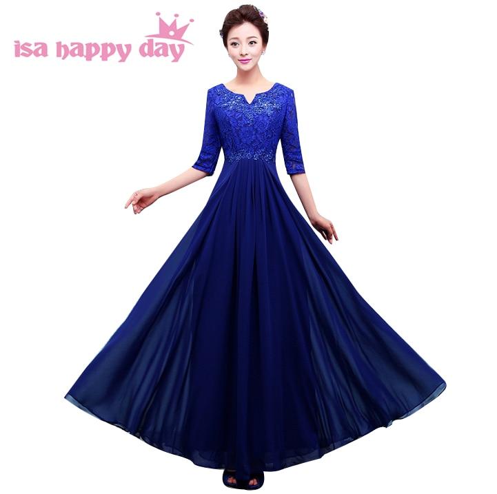 women dark red elegant beaded chiffon modest prom dresses with half sleeves dress blue long 2018 floor length plus size H3759