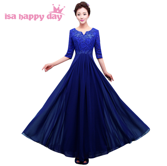 women dark red elegant beaded chiffon modest prom dresses with half sleeves dress  blue long 2019 floor length plus size H3759 05051fbd2d2f