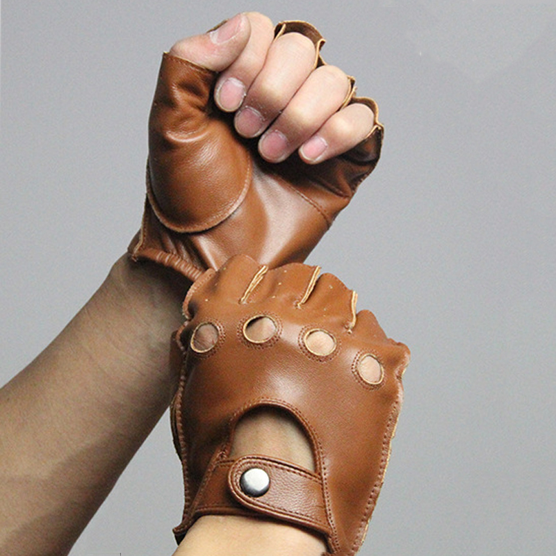 Gloves With Fingertips Out: Svadilfari Spring Men's Genuine Leather Gloves Driving