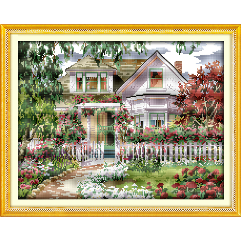 Everlasting love Christmas Garden Villa Ecological cotton Cross Stitch kits 11 14CT Printed stamped wedding decoration for home
