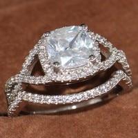 2Pcs Set Charm Lovers Ring Vecalon Female Fashion Jewelry White Gold Filled CZ Engagement Wedding Rings