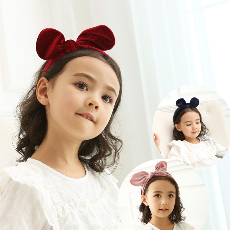 Korea Velvet Hair Accessories Lovely Wool Bow Knot Flower Hairband for Girls Crown Headband Hair Band Princess 4
