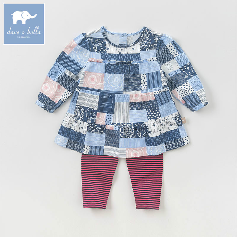 DB5784 dave bella autumn baby infant girls plaid clothing sets printed suit children toddle outfits high quality clothes