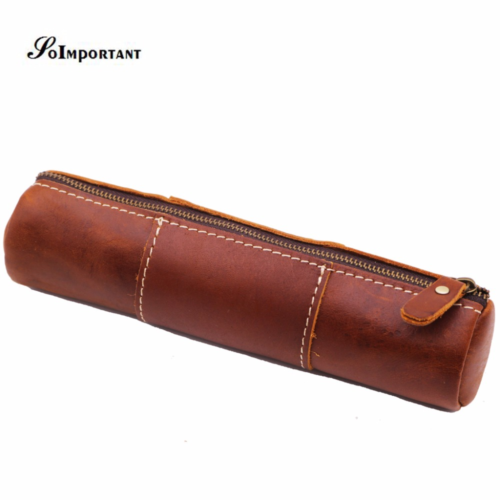 Vintage Luxury Handmade Genuine Leather Pens Pencil Pocket Pouch Case Men Wallets Coin Purse Multi Function Organizer Pen Bags