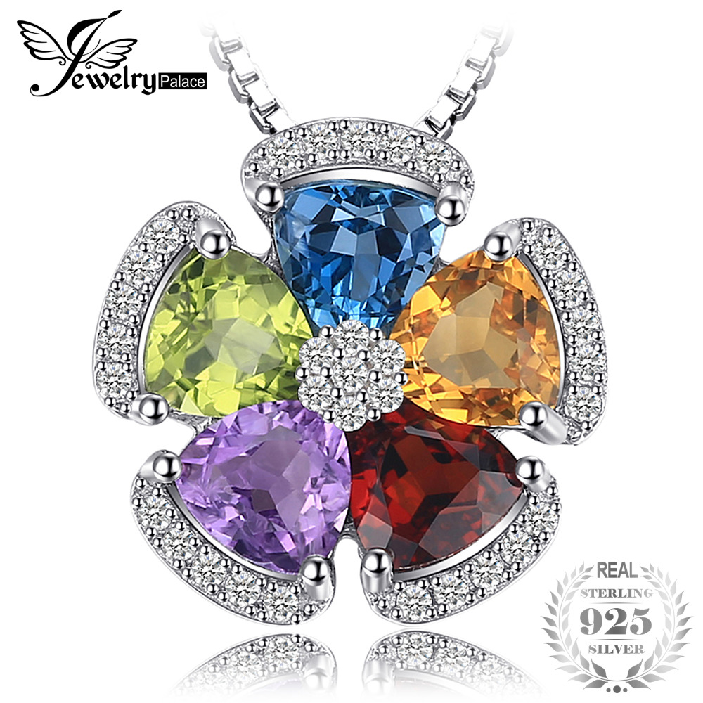 JewelryPalace 2.6ct Natural Blue Topaz Amethyst Citrine Garnet Peridot 925 Sterling Silver Pendants Necklaces Without ChainJewelryPalace 2.6ct Natural Blue Topaz Amethyst Citrine Garnet Peridot 925 Sterling Silver Pendants Necklaces Without Chain