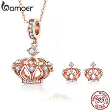 BAMOER Corwn Necklace and Earrings Sets Sterling Silver 925 Rose Gold Pendant Necklaces Jewelry Sets Fashion Jewelry ZHS112(China)