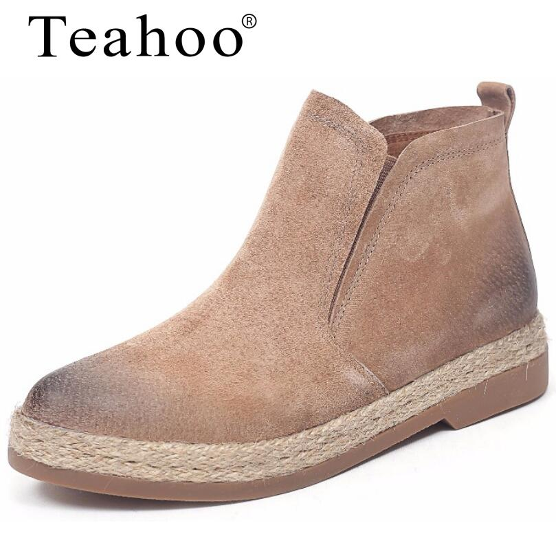Teahoo 2017 autumn genuine leather chelsea boots women ankle boots flat with round toe slip on