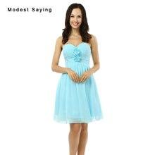 Nueva Barato Sexy Flores Plisadas Vestidos de Dama de 2017 Niñas Formales corto de Dama de Honor Vestidos de Luz Azul Mini vestidos de Baile vestidos