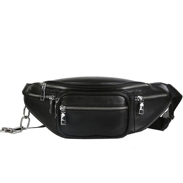 5dea23cea00c сумка на пояс женская поясная сумка черный сумка поясная Повседневное  бананка поясная сумка женская кожа цепь