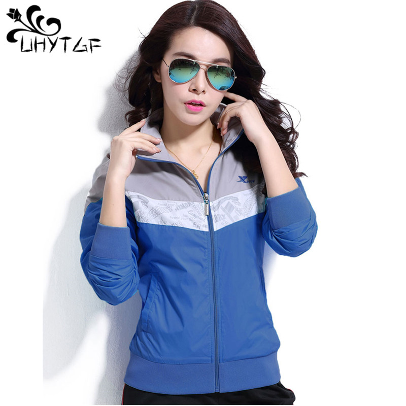 UHYTGF Women   Basic     Jackets   mother windproof   jacket   Female Thin Casual Long Sleeves Coat Autumn Sports   Jacket   Windbreaker tops262