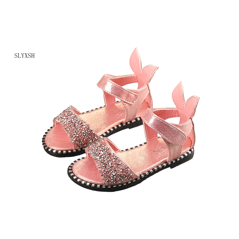 df66ce1dc MHYONS 2018 Hot Sale Baby Girl Sandals Fashion Bling Shiny Rhinestone Girls  Shoes With Rabbit Ear Kids Flat ...