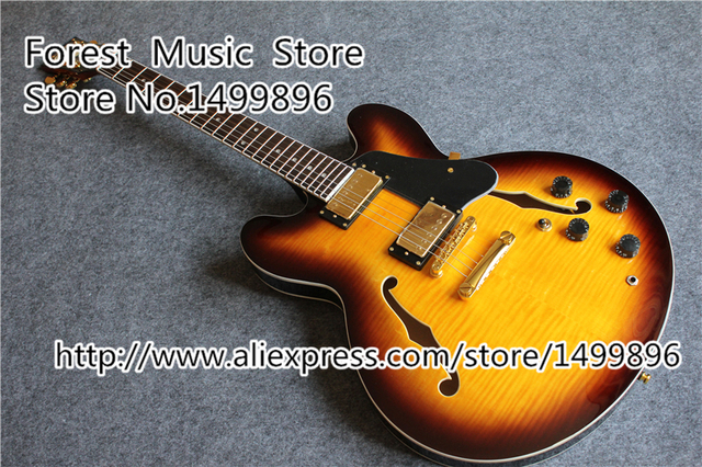 Cheap Free Shipping Musical Instrument Vintage Sunburst ES Hollow Body Electric Chinese Jazz Guitar Lefty Available