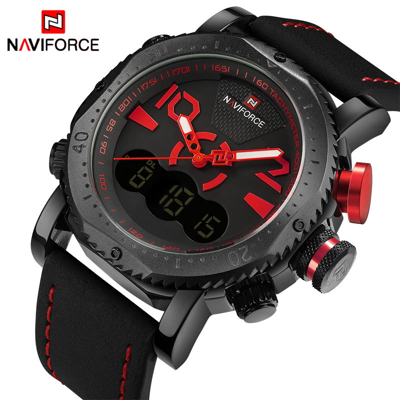 2017 New NAVIFORCE Fashion Men Quartz Digital Sports Watches Army Military Watch Male Waterproof Wrist watches Relogio Masculino weide new men quartz casual watch army military sports watch waterproof back light men watches alarm clock multiple time zone