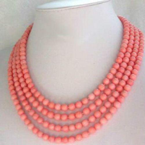 Regalo de las mujeres palabra Amor Envío Libre>>>>> Caliente venta nuevo Estilo de joyería de Moda 4 Strands 6-7mm de Color Rosa Collar de Coral