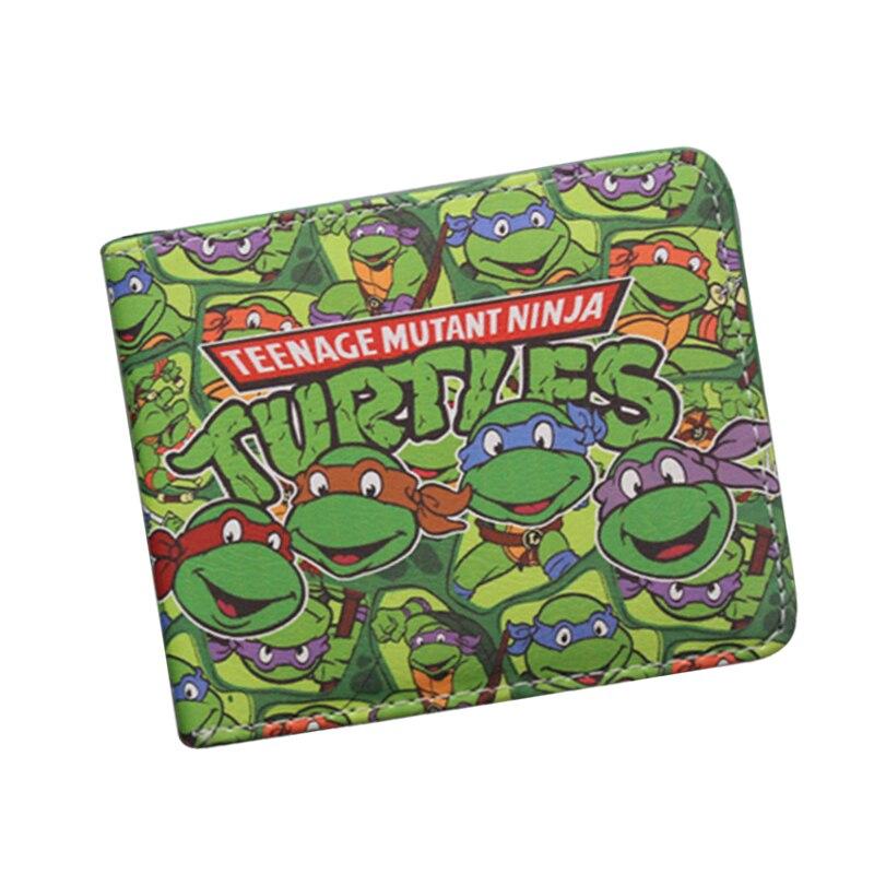 Japanese Cartoon Wallet Short Leather TMNT Wallet Tortoise Movie Purse Men Bifold Green Wallet For Teenager Boys Girls Game Bag