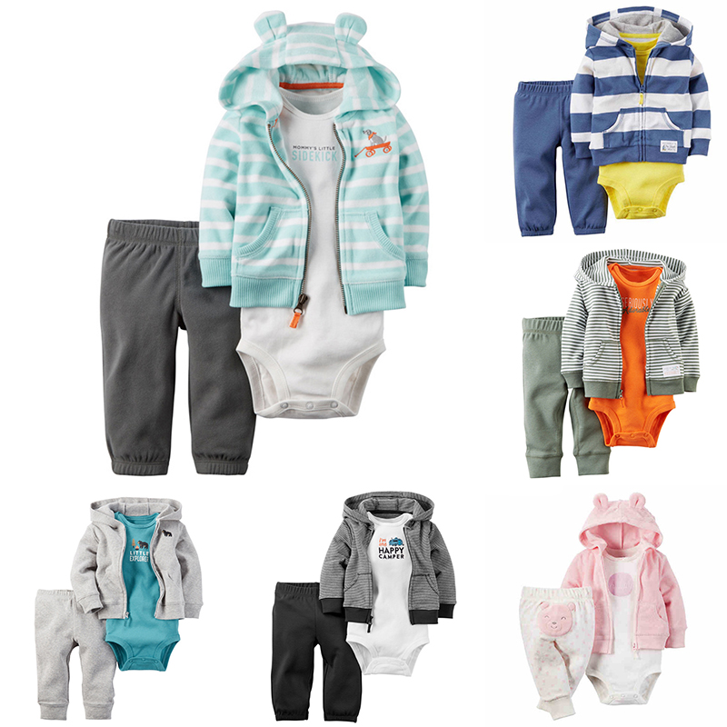 Baby Clothing Sets Toddler Rompers + hooded Coat + Pants 3 Piece Striped Newborn Costume bodysuits Baby Boys Girls Clothes