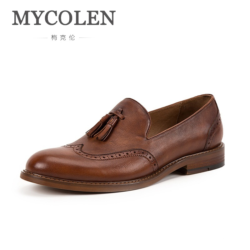 MYCOLEN New 2018 Men Cow Loafers Spring Autumn Genuine Brand Designer Leather Driving Moccasins Slip On Men Casual ShoesMYCOLEN New 2018 Men Cow Loafers Spring Autumn Genuine Brand Designer Leather Driving Moccasins Slip On Men Casual Shoes