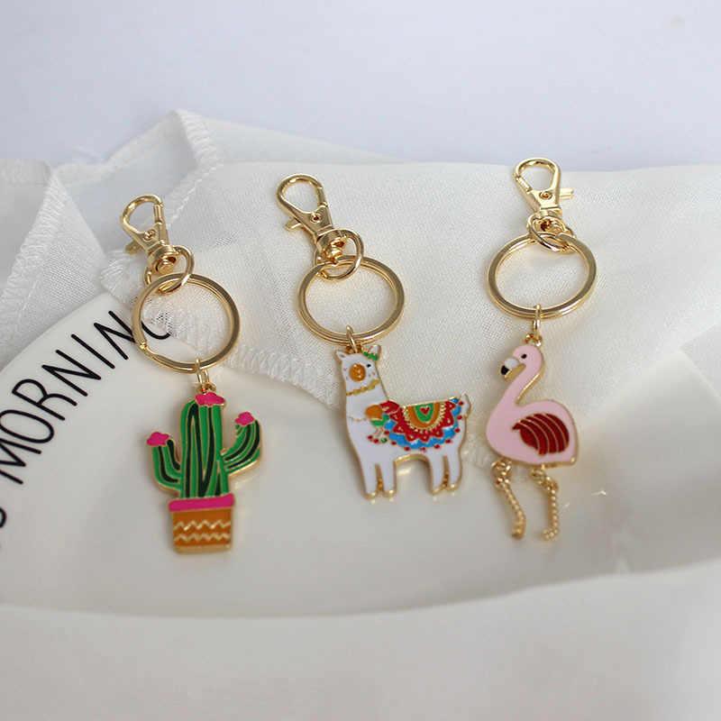 Милый мультфильм эмаль собака Единорог Альпака кактус сова кулон брелки для женщин кольцо цепь Шарм ребенок ювелирные изделия для подарка