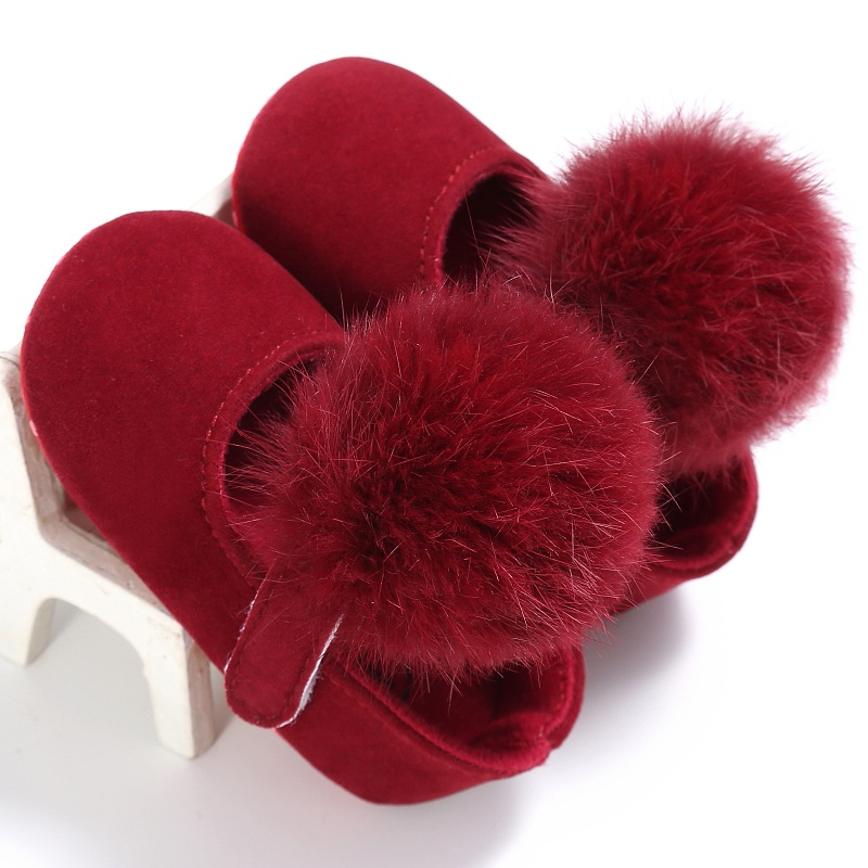 Lovely Cute Infant Baby Girl Shoes Toddler Pre-walkers Princess Hair Ball Crib Shoes Bebe Shoes Frist Walkers 0-18M