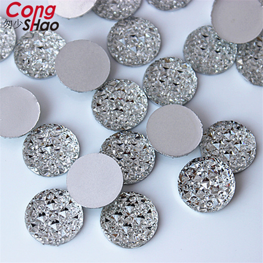 Cong Shao 200PCS 14mm Clear Round flatback Resin Rhinestone trim stones and  crystals DIY costume Button e7a938e362d1
