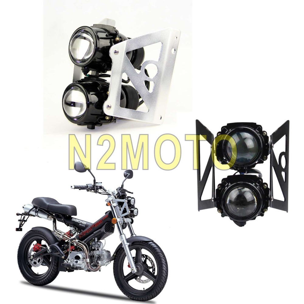 Motorbike Dual Sport Twin Light Motorcycle Headlight Projector Lamp Streetfighter Head Lights W/ Mounting Bracket Universal