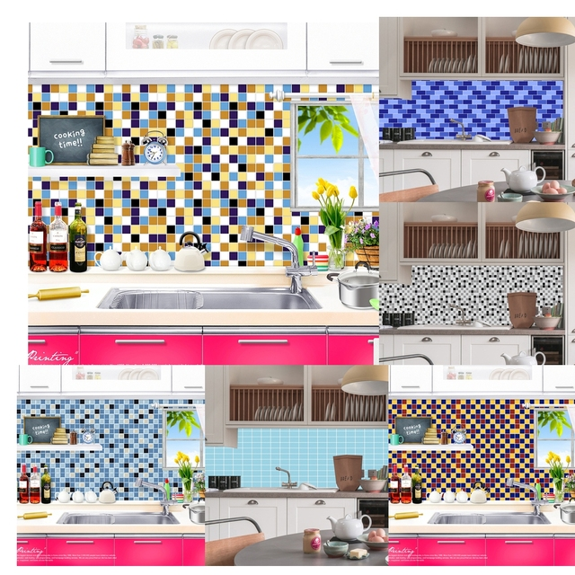 Mosaic Wall Tile Backplash Sticker Square Kitchen Bathroom Pvc 3d Paper Home Decor Floor Tiles Anti Dust Mold