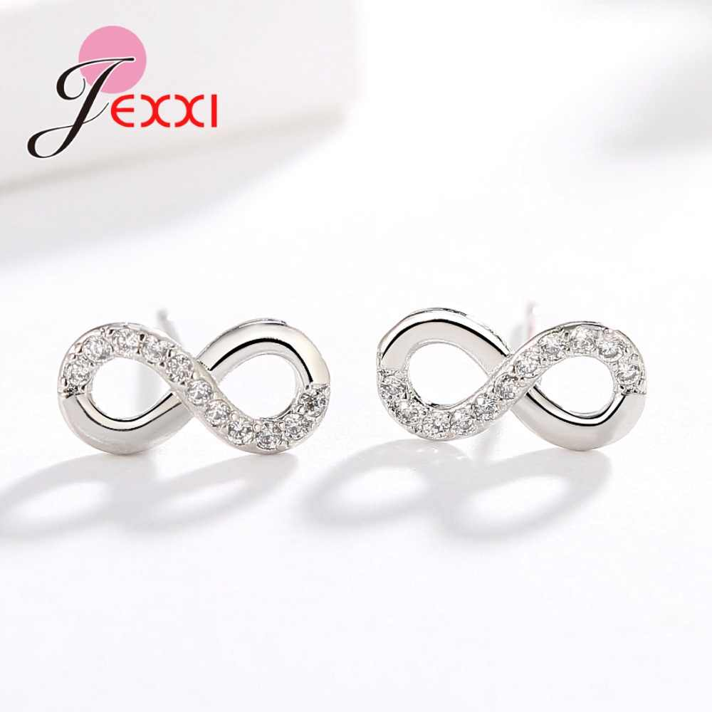 New Attractive Woman/Lady/Bridal Infinity Earrings Studs Simple Brincos Lucky Number Figure Eight CZ Stud Earring Wholesale