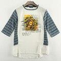 Europa e os Estados Unidos ordens T-shirt impressão feminino meia manga tarja chiffon costura das mulheres frete grátis