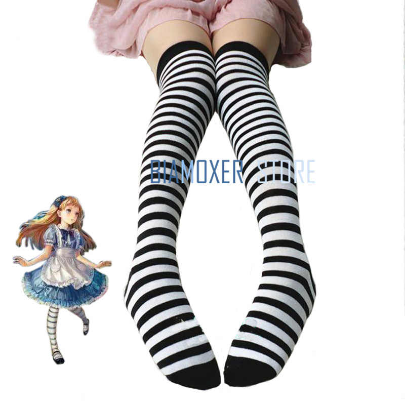 999acd8e277 Biamoxer Maid Lolita Stockings Women Adult Anime Alice In Wonderland Black  Blue White Cosplay Costume Accessories