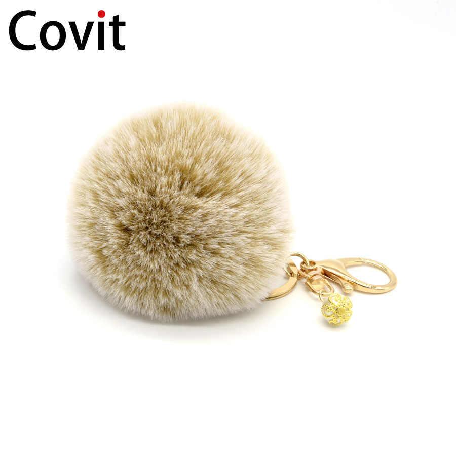 Covit 8 cm llavero de pompón suave bola bonita piel de conejo falso para mujeres bolso de coches llavero colgante Porte Clef encanto de la Navidad