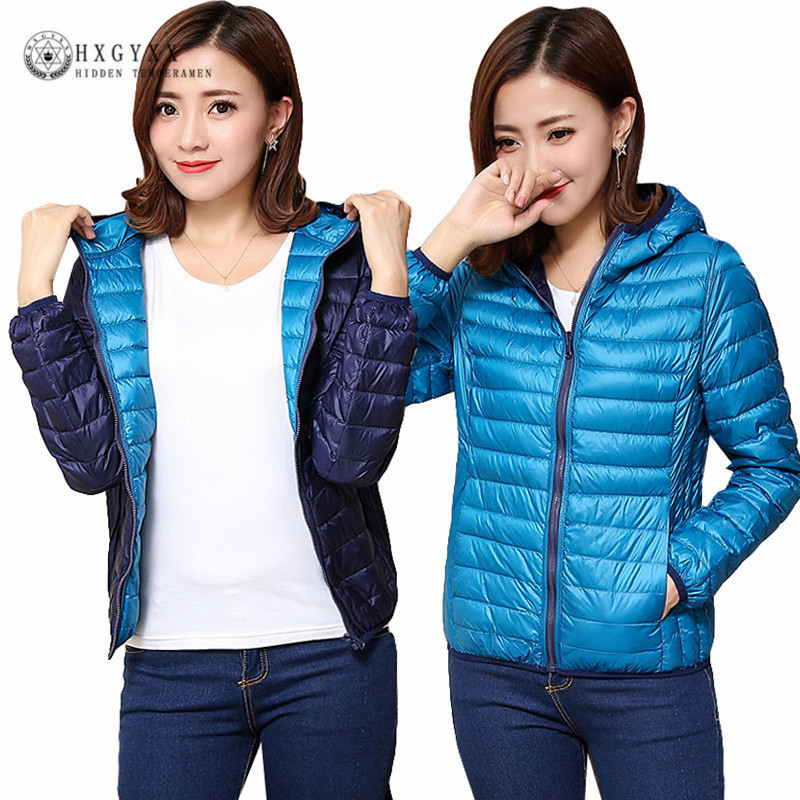 2020 Duck Ultra Light Down Jacket Women Winter Goose Feather Coat Thin Slim Warm Parka Hooded Outerwear Double Side Wear Okd209