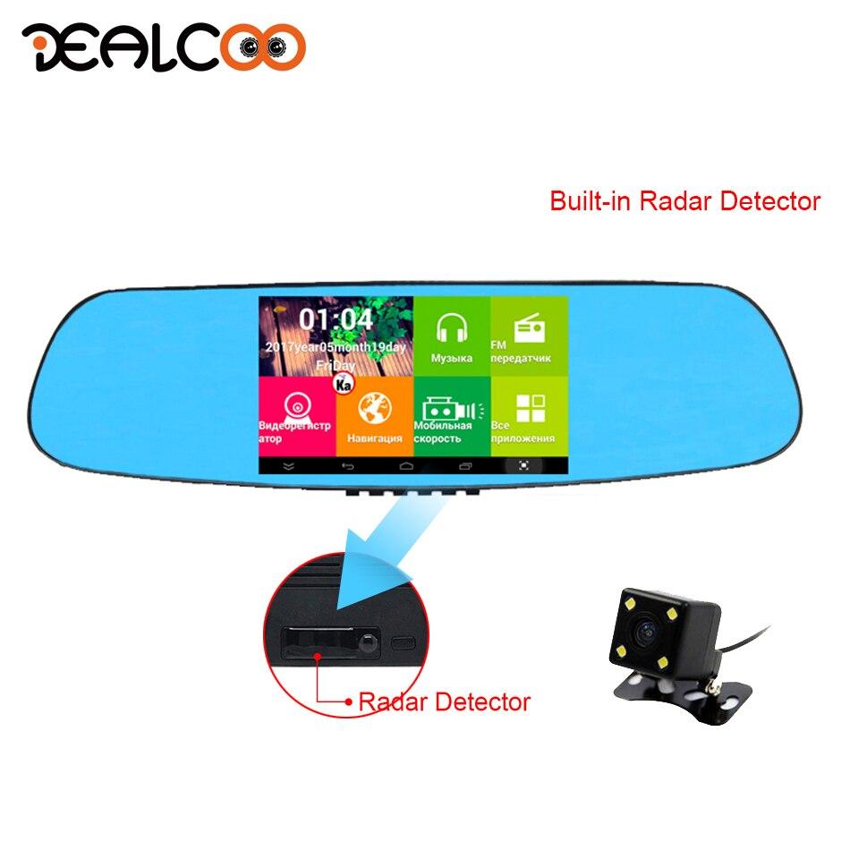 Dealcoo R6 Voiture DVR 5' Auto Miroir Vidéo Enregistreur Caméra 3 dans 1 Radar Détecteur avec Android GPS Navigation Deux caméras 1080 p FHD