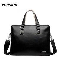 VORMOR 2019 Men Casual Briefcase Bag PU Leather Shoulder Messenger Bags Computer Laptop Handbag Tote Bag Black/Blue