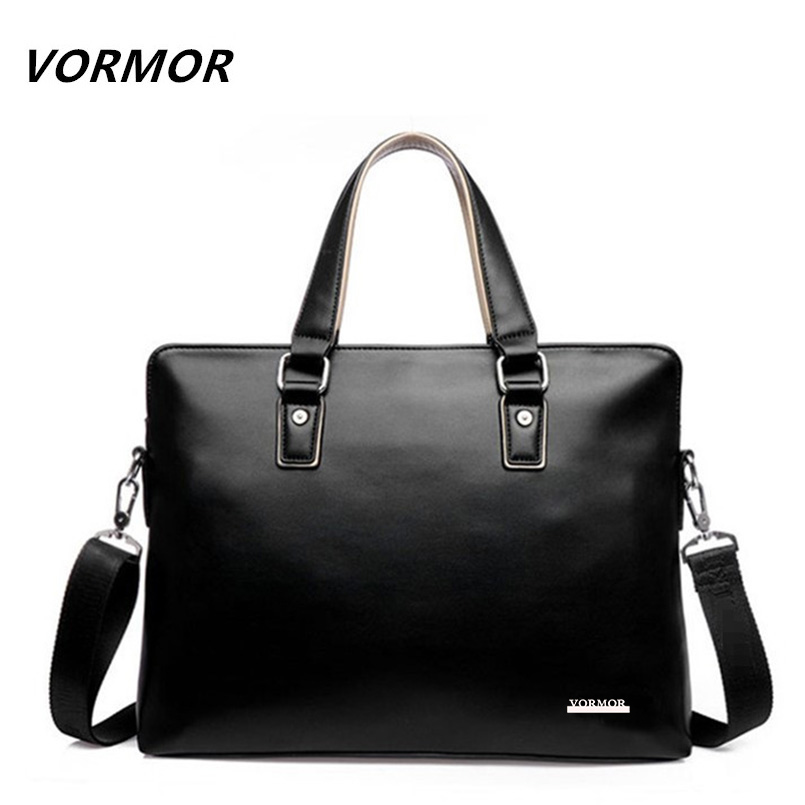 VORMOR 2019 Men Casual Briefcase Bag PU Leather Shoulder Messenger Bags Computer Laptop Handbag Tote Bag Black/Blue