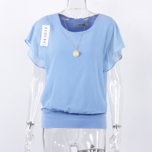 Chiffon Summer Batwing Short Sleeve Shirt