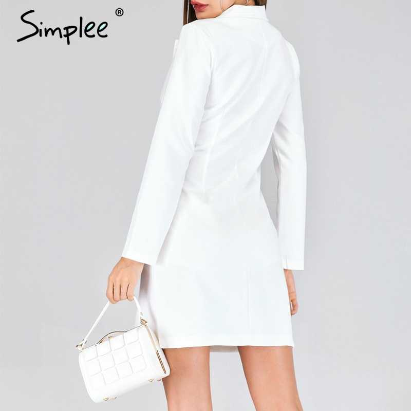 b1e95ac42a672 ... Simplee Elegant double breasted women black dress Ladies office white  blazer dresses plus size Summer bodycon ...