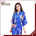 PR005 Women Printed Floral Bride Bridesmaid  Robe Kimono Dress Gown Chinese Style Silk Satin Robe Nightgown Flower S M L XL XXL