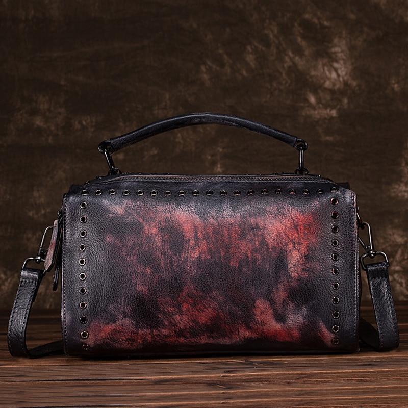 New Women Cross Body Handbag Tote Purse Brush Color Retro Pouch Pillow Shoulder Messenger Genuine Leather Bag Top Handle Bags