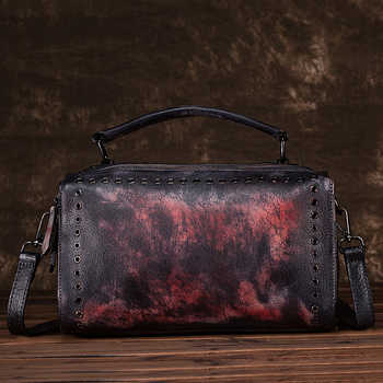 New Women Cross Body Handbag Tote Purse Brush Color Retro Pouch Pillow Shoulder Messenger Genuine Leather Bag Top Handle Bags - DISCOUNT ITEM  30% OFF All Category