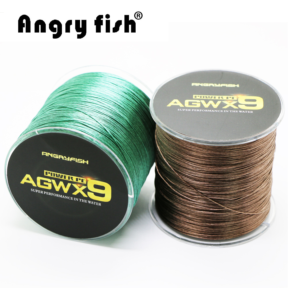 Angryfish 9 Strands Weaves Braided 500M Fishing Line Super Strong PE Line 15LB 70LB
